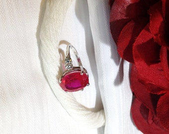 Dazzling Ruby Ring ~ 925 Sterling Silver ~ Size 6.75
