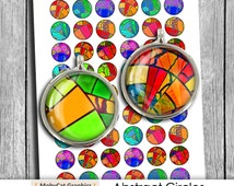 "Color ""Abstract Circles"" 1 inch, 20mm, 18mm, 14mm, 12mm for Bottle caps, Earrings, Cuff Links Digital Collage Sheet Instant Download"