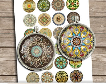 "Arabesque ""Oriental Ornaments"" Printable collage sheet for Cabochons, Bottle caps 1"" 20mm 30mm 1.5"" Digital Collage Sheet - Instant Download"