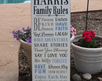 Family Rules Wood Sign With Last Name / Customizable Family Rules Wood Sign