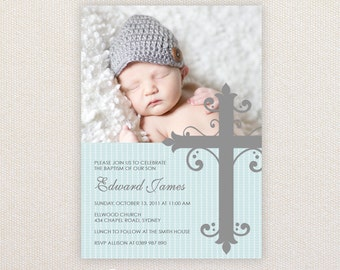 Boys Photo Christening/baptism Invitations. Large ornate cross. I Customize, You Print.