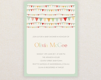 Neutral Baby Shower Invitation. Rainbow buntings. I Customize, You Print.