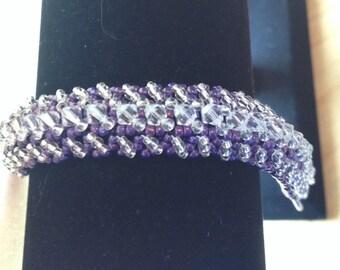 Beaded Swarovski Crystal Bracelet-Dark Purple-8 in.