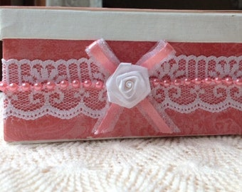 Hand Decorated Gift Box-Coral-5 in.