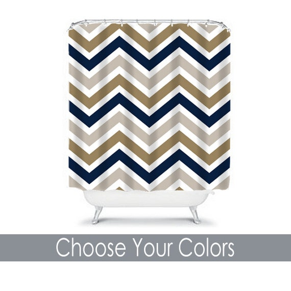 Items Similar To Chevron SHOWER CURTAIN Navy Sepia Beige Custom MONOGRAM Pers