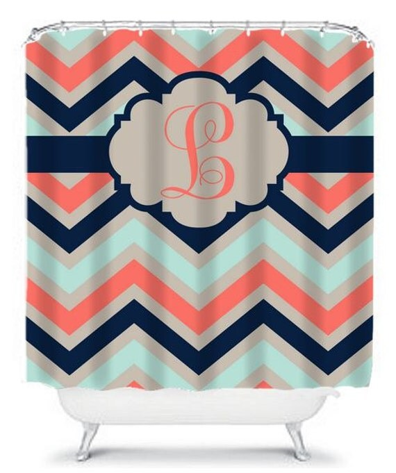 Items Similar To Chevron Coral Navy Aqua SHOWER CURTAIN Monogram Shower Curt