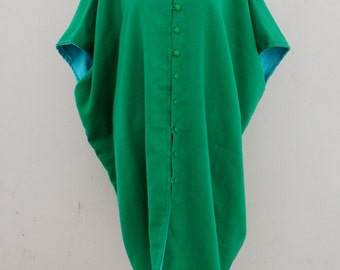 Reversible - Tunic -Mid Century Modern - Modern - Futuristic - Wool - Hollywood Regency - Kelly Green - Turquoise - One Size