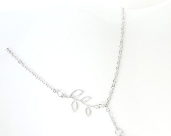Silver Lariat Necklace, Silver Bridesmaid Jewelry, Mother's Day Jewelry, Gift For Mom, Birthday