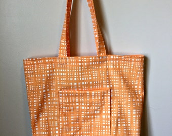 Orange Striped Tote Bag