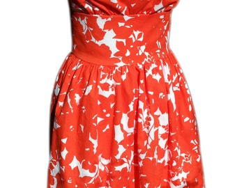 halter dress pin up bombshell rockabilly summer dress orange white