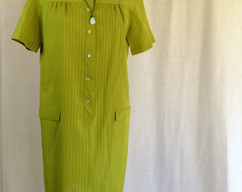 Vintage Green Mod Mini Dress, Tunic Shirt Dress, Chartreuse Pinstripe Dress, Sixties Mod Short Sleeved Button Front Dress, Retro 60's Dress
