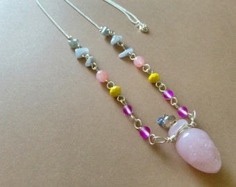 Boho Silver & Pink Skull Bottle Necklace, Gypsy, Bohemian Jewelry, Pink Murano Lampwork Glass Oil/Perfume Bottle, Gemstones, Artisan, Pastel
