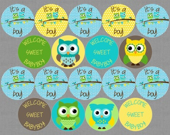 Printable Owl Baby Shower Cupcake Toppers - YOU PRINT