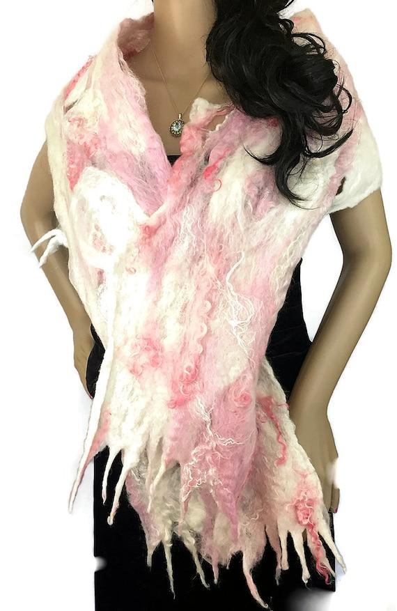 Outlander Claire Paris Felt Silk Scarf Pink White Art Scarf Wrap OOAK Cobweb Felt Diana Gabaldron Shawl Wrap Stole