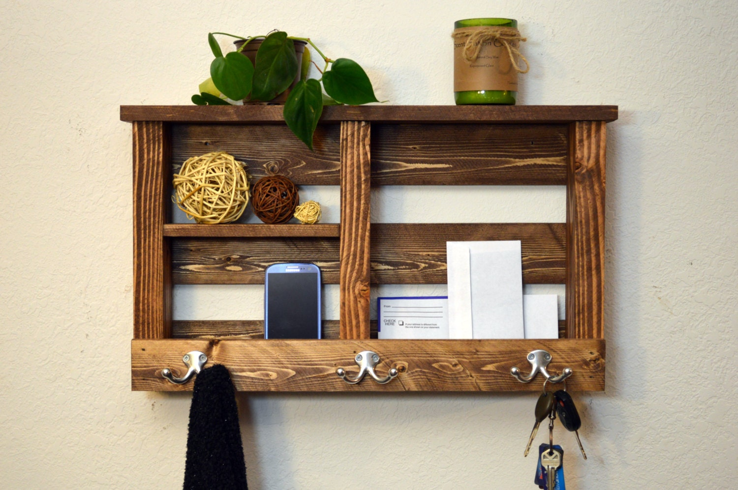 entryway hanging organizer key hooks phone by