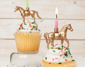 Gold Horse Candle Holder, Equestrian Candle Holder, Kids Birthday Party Decor, Gold Horse Cake Topper, Gold Animal Candle Holder