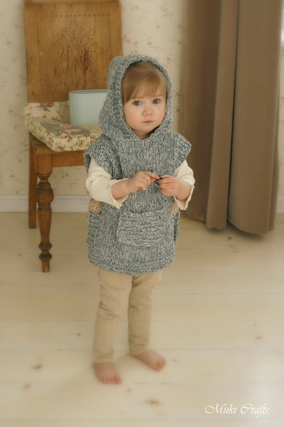 Childrens Hood Knitting Pattern : KNITTING PATTERN chunky hooded poncho Phoebe toddler by ...