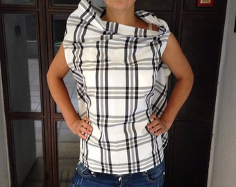 Extravagant asymmetric taffeta summer top/Tartan blouse/Womens tunic