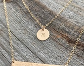 Gold Double Strand Initial Necklace / Gold or Silver Layering Necklace / Set of 2 Personalized Layering Necklaces / Hammered Gold Bar