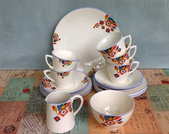 Art Deco Tea Set AJ Wilkinson Royal Staffordshire Cups and Saucers 1930s