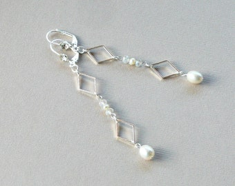 White Pearl Earrings, Bridal Jewelry, Art Deco Earrings, Bridal Earrings, Jewelry Gift, Pearl Jewelry, Silver Jewelry, Wedding Jewelry, Gift
