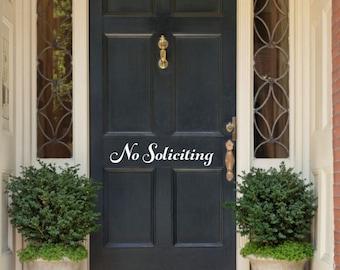 No Soliciting Door Decal No Soliciting Vinyl Front Door Vinyl Decal No Soliciting Decal Door Decal No Soliciting Door Sticker
