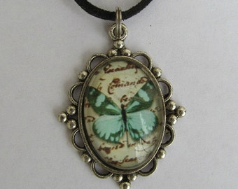 Blue and Green Butterfly Pendant Necklace
