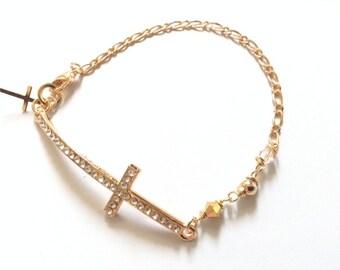 Sideways Cross Bracelet Rhinestone gold cross gold crucifix Rhinestone bracelet Gold filled Bracelet Rhinestone connector cross pendant