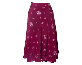 Silk wrap skirt, rose skirt, red skirt, long skirt, summer skirt, embroidered skirt, boho chic skirt, silk skirt