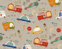 Boys Cotton Fabric, Riley Blake C4120 Gray, On Our Way, Fire Truck, Taxi, Police Car, Ambulance, Race Car, Childrens Cotton Fabric