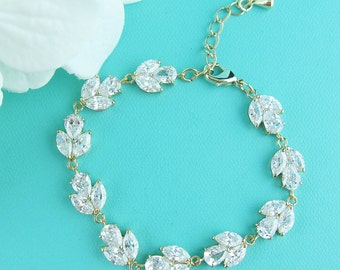 Gold CZ Bridal bracelet, gold wedding bracelet, cubic zirconia crystal bracelet, crystal bracelet, bridal jewelry, wedding 232346141