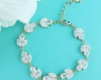 Gold Bridal bracelet, gold wedding bracelet, cubic zirconia crystal bracelet, crystal bracelet, bridal jewelry, Bianca Gold Bracelet