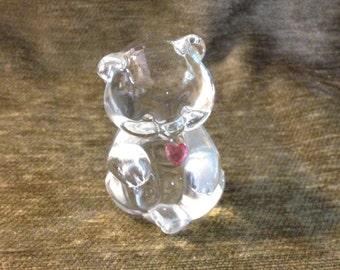 Vintage Lead Crystal Bear with a Garnet Red Heart Figurine Paperweight, Fenton Bear