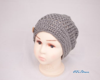 Child's Slouchy Beanie Hand Crocheted