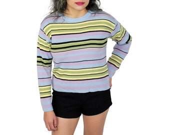 90s Striped Sweater, 90s Striped Jumper, Willow Striped Sweater, Colorful Striped Sweater, Colorful Striped Jumper