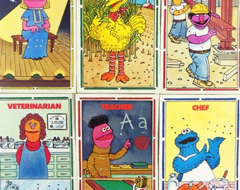 Sesame St - vintage 1970s learn to sew cards x 6