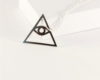 Illuminati Symbol Eye of Providence Necklace! Eye in triangle Necklace! Sterling silver chain