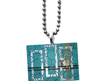 Frog Charm - Aqua Blue Jewelry - Reptile Necklace - Geometric Jewelry - Glass Tile Pendant - Toad Charm - Frog Lover Gift - Silver Charm