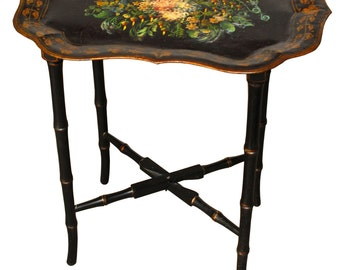 French Tole Serving Tray Table