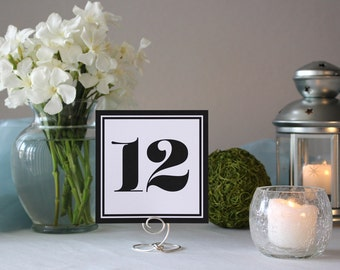 Black and White Frames Art Deco Table Marker Wedding Table Number