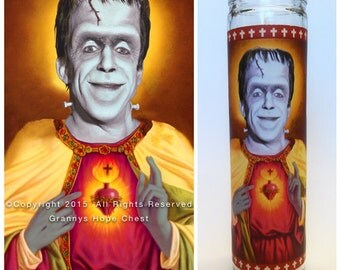 "Herman Munster Prayer Candle. The Munsters! Great Gift! Premium Handmade 9"" Soy Candle!"