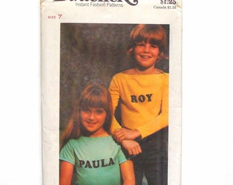 Vintage 70's Boat-neck Butterick Children's T-Shirt Sewing Pattern # 4649 w/Iron-on Transfers - UNCUT - Size 7