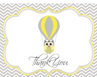 OWL Balloon Thank You Card DIGITAL