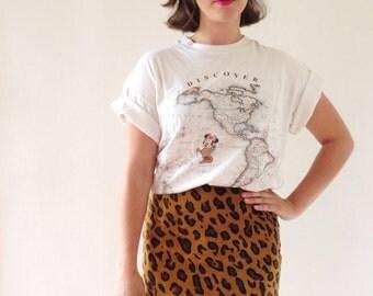 Vintage pencil skirt, vintage skirt in real suede leopard printed,Meoww!