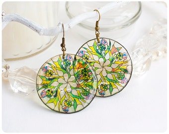 """Resin Transparent  Round Earrings """"Thistle"""""""