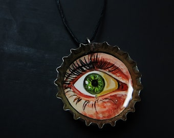 Hand Painted Bottle Cap Necklace | Eye