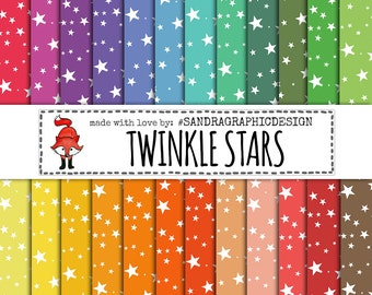 """Stars digital paper: """"STARS"""" with stars backgrounds and other patterns in pretty colors (1215)"""