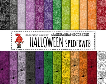 "50% OFF - Halloween digital paper: ""HALLOWEEN SPIDERWEB"" with backgrounds in Halloween colors, with spiders and webs in white, black (1041)"