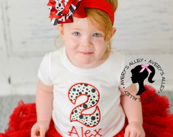 Red and Dalmation Theme Birthday - Any Age! Girls Applique White Shirt & Matching Hair Bow Set