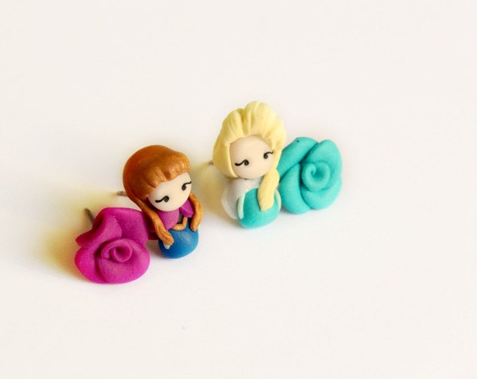 Anna and Elsa from Frozen, stud or magnetic earrings inspired by the Disney movie Frozen. Handmade clay.Frozen jewelry.Disney  earrings.